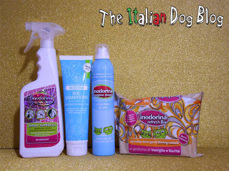 Salviette, shampoo secco, shampoo, e spray per superfici : Inodorina